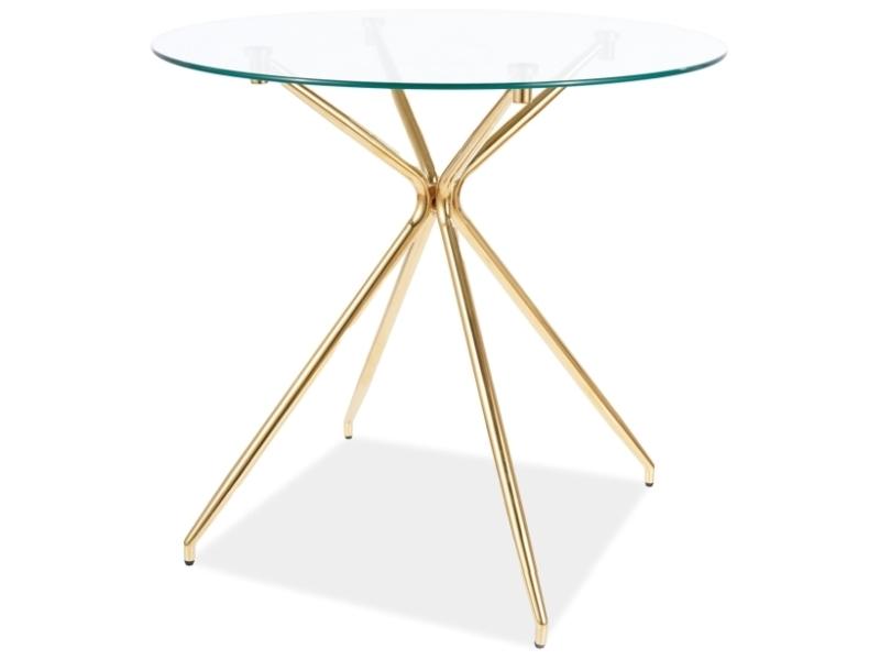 Stôl AZALIA transparent/ zlatá konštrukcia FI 80